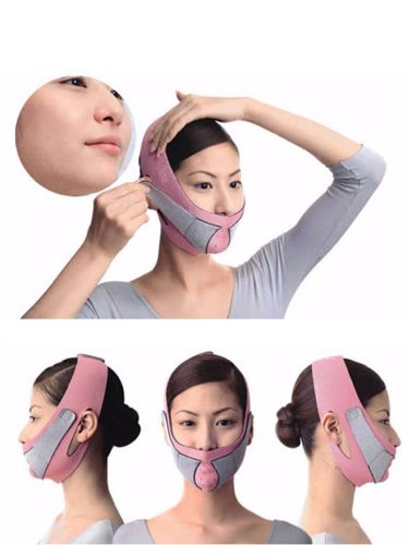 Care Thin Mask Slimming Facial Thin Masseter Double Chin Skin Care Thin Bandage Fat Burning Face High QualityColor:PinkMethod of use:Put your hair of