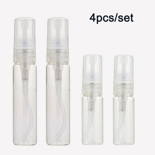 4pcs/set 2x10ML, 2x5ML Clear Glass Spray Perfume Bottle Moisturizing Travel 2x10ml