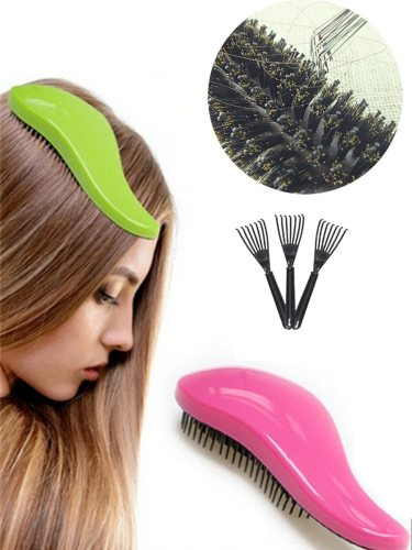 Straight Hair Comb +Comb Clean Paw Hair Care Tools Straighten 16-20 cm