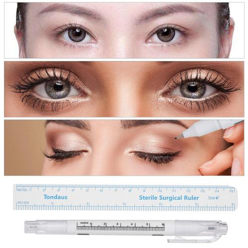 3Pcs Double-headed Tattoo Skin Marker Pen + Eyebrow Tattoo Measure Paper Ruler for Permanent Makeup Tattoo meet your different demandsPaper ruler is