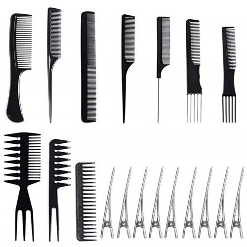 19pcs Professional Hair Brush Comb Salon Barber Anti-static Hair Combs10pcs with Hair 100%Brand new and high quality A must kit for hair salon Comb