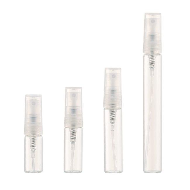 4 Pieces 2ML,3ML,5ML,10ML Each Empty Clear Glass Refillable Travel Perfume Bottle Lotion Spray Massage 10mlBottle body: GlassSpray head: Included:4