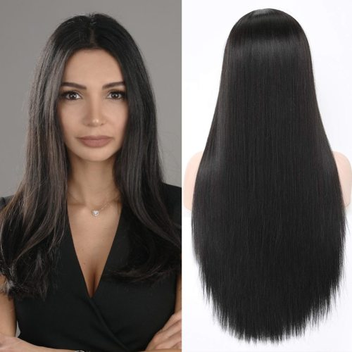 Glueless Wigs Long Straight Wigs Synthetic with Nature Hairline Half Hand Tied Black Wigs For Women Daily Product Information--Brand Name: GXO per 1