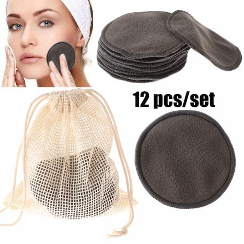 12 Pieces Reusable Bamboo Fiber Washable Rounds Pads Makeup Removal Cotton Pad Cleansing Facial Pad All Skin Type Cleaning Wipe and easily and remove