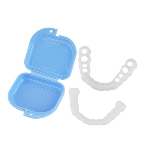 White 8 Hole Upper Simulation Braces with Storage Case Oral Packaging: blue plastic socket box 1pcWhite 8 hole upper teeth simulation socket 1pc