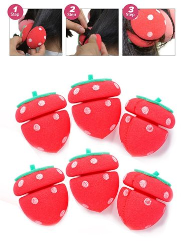 6Pcs Manual Hair Curler Adorable Strawberry Shape Natural Wavying Net weight: 002kg Curling