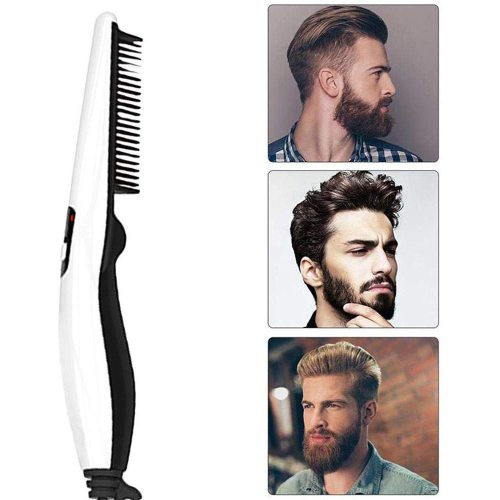 Beard Straightener Brush Electric Quick Hair Straightening Comb Faster Heating Ceramic Hair Brush Beard Care UK