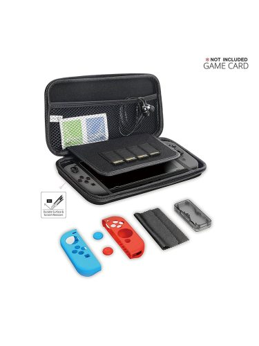 GameWill Nintendo Switch Carry Case Pouch For Nintendo Switch Console & allows you to take your favorite games on the go And anti-slip Black Silicone