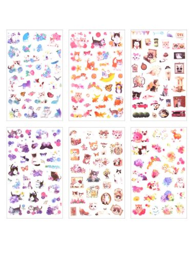 1Pc Students Sticker Sweet Cartoon Cat Pattern Creative Writing Natural Multi Stickers Set Size:14*9cm6 Sheets/pack Plant
