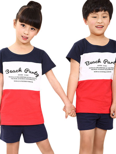 Kids Family Outfit Fashion Colorblock Cotton T Crew Neck Print Boys & Girls Tops Family Outfit Short Sleeve