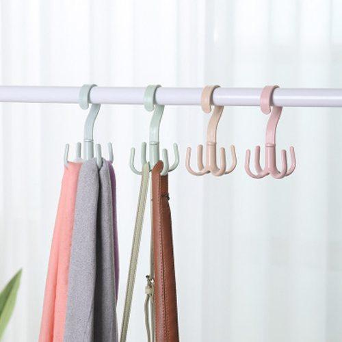 3Pcs Hooks Rotation Versatile Closet Bag Tie material:plasticsize:14*8cm