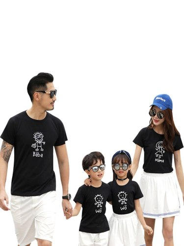 Kids Family T Shirt Outfits Cartoon Printed Loose Top Boys & Girls Crew Neck Ruffles Floral Short Sleeve Tops Family Outfit