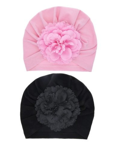 2 Pcs Baby's Hats Solid Color Artificial Flower Design Chic Girl Berets