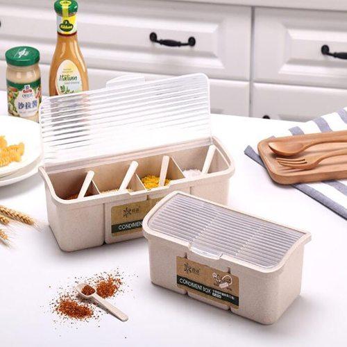 1 Piece Kitchen Seasoning Box Grids Versatile With Lid Seasoning Size: S: 155*105*75CMM: 22 * 105 * 75 CM