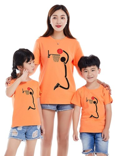 One Piece Top Family Outfit Cartoon T Shirt Boys & Girls Tops Family Outfit Print Short Sleeve Crew Neck