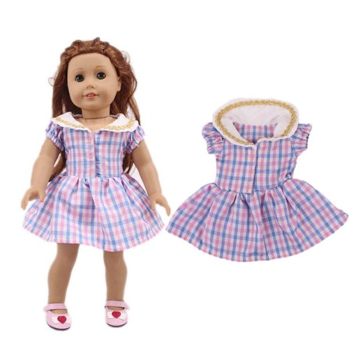 Girls' 1 Piece Doll Clothes Outfit Short Sleeve Plaid A Line Dress Doll Others Over 14 Years Old