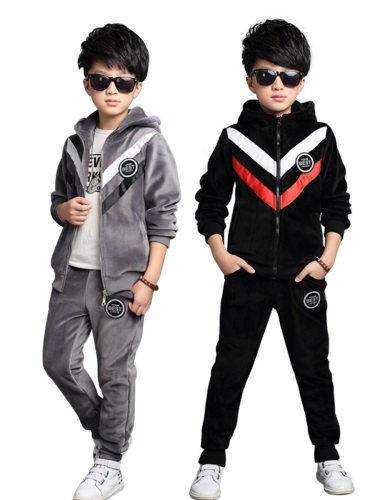 Brothers Family Outfits 2 Pcs Hoodie+Pants Set Colorblock Long Sleeve Patchwork Zipper Hooded