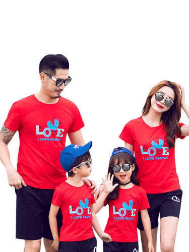 Kids Family T Shirt Outfits Letter Printed Loose Top Boys & Girls Short Sleeve Floral Tops Family Outfit