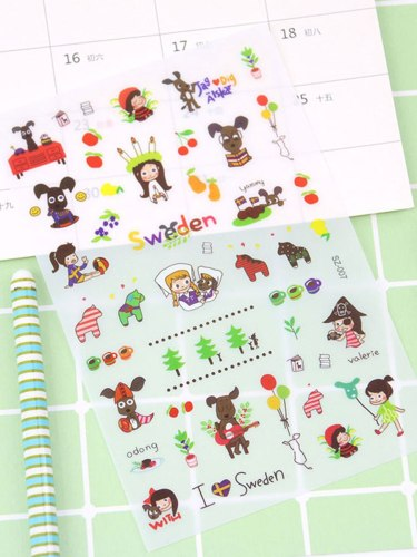 6Pcs Sticker Lovely Cartoon Pattern Fresh Style Versatile Gift Figure Multi Stickers Set Natural send by randomsize:185*10*1cm
