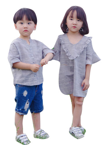 Brother & Sister Family Outfits Comfy Solid Color Top for Brother Frill Decor Dress Foe Crew Neck Short Sleeve