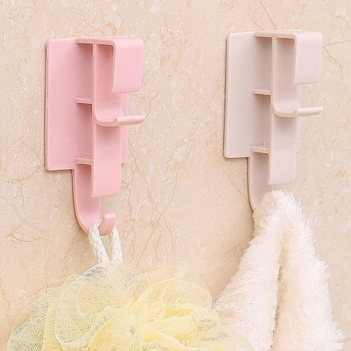 2 Pieces Bathroom Hooks Solid Color Punch-Free Non-Toxic Storage Weight: 50Package size: 11x5x3
