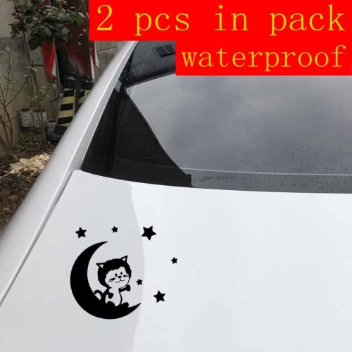 2 Pieces Car Sticker Lovely Cat Design Waterproof Removable Blue Stick Type Car Trail