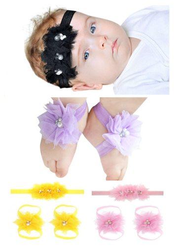 3 Pcs Baby's Accessories Beautiful Newborn Hairband Leg Bands Hairbands Girl