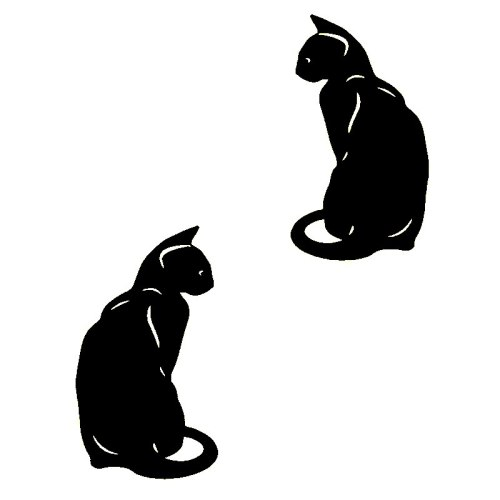 2 Pieces Car Sticker Cute Cat Design Waterproof Removable Vehicle Stick Type Car Door Yellow