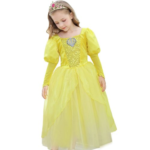 's Dress Belle Princess Cosplay Costumes Dress Party Long Long Sleeve Jacquard Toddler Girls Pleated Girl All 3Y