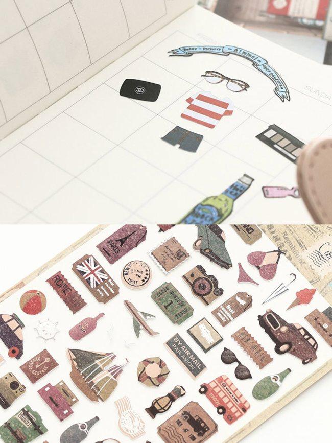 2 Pcs Stickers Cute Cartoon Style DIY Diary Album Decorative Size:19*95cm Number Multi Stickers Set Simple Gift