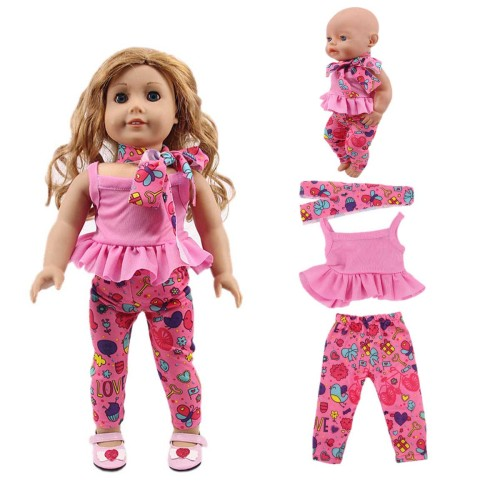 3 Pieces Doll Clothes Set Cute Hairband Solid Color Top Floral Print Pants 15cm-30cm the doll is not includedsuitable for 18  American doll and 43cm