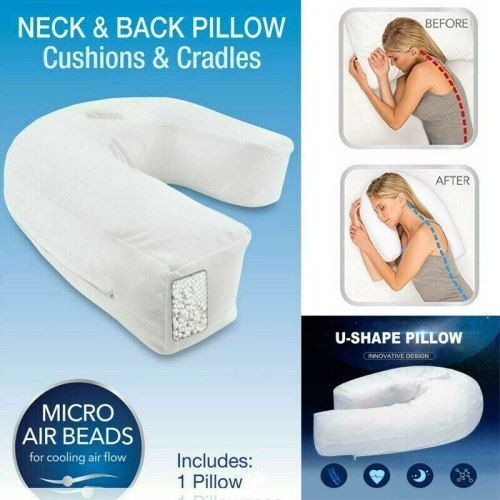Sleeping Pillow U-Shaped Soft Comfy machine washable polyester / cotton coverHypoallergenicComfortable ear pocketPacking list:1 x Sleeper allow 1-3cm