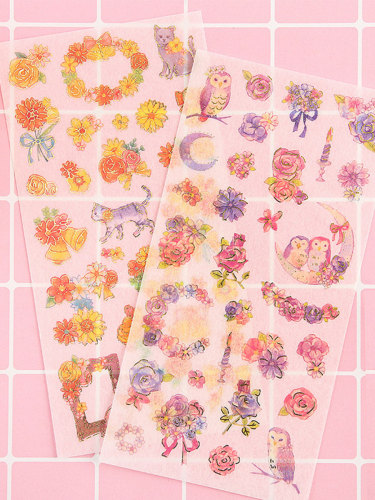 6Pcs Stickers Fresh Style Floral Cartoon Animals Pattern Natural Shape Multi Stickers Set size:9*17*1cm Finance