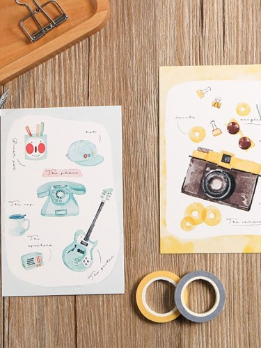 30 Pcs Post Card Watercolor Cartoon Pattern Student DIY Gift Single Page Cards Finance Fashion