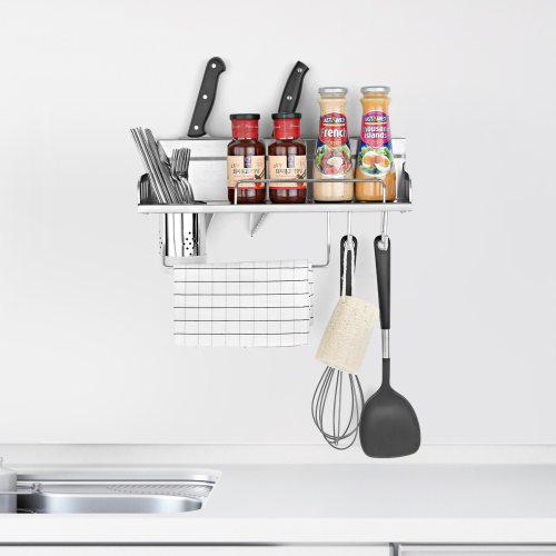 Kitchen Storage Rack With Hooks Multi Functional Condiments  installation type:wall mountedsurface treatment:stainless steel wire Shipping None