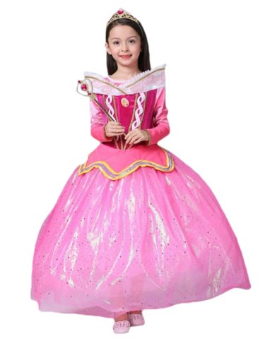 Toddler Girls Long Sleeve Princess Exquisite Dress For Sequins Solid Cosplay Dress