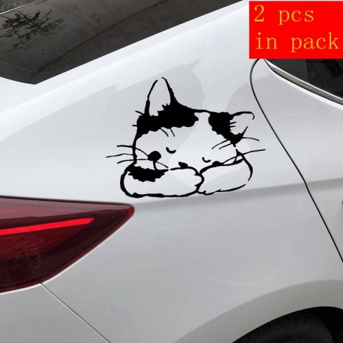 2 Pieces Car Sticker Funny Sleeping Cat Pattern Waterproof Removable Blue Engine Cover Stick Type