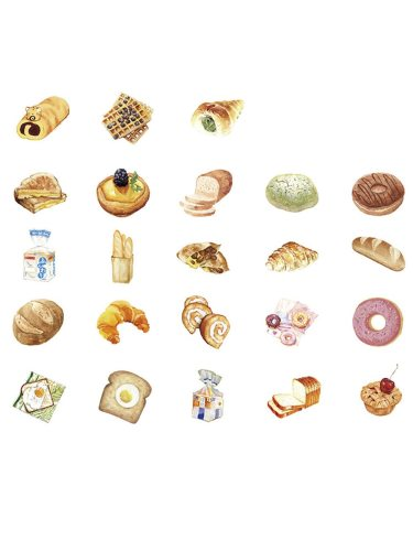 46 Pcs DIY Stickers Delicious Bread Design Album Notebook Decorative Finance Size:7*5*1cm Fashion Multi Stickers Set Shape