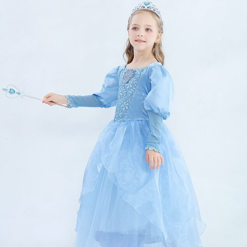 's Dress Cinderella Princess Hoween Cosplay Costume Dress Party Long Long Sleeve Jacquard Appliques Toddler Girls Girl 2Y All
