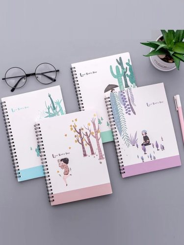 4 Pcs Student's Notebooks Fresh Style Plant Character Pattern Cute Writing A5 Size:148*21cm Simple