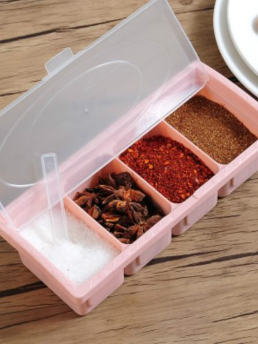 1Pc Seasoning Box Four Compartment Condiment Box With Spoon Salt Pepper Container Kitchen