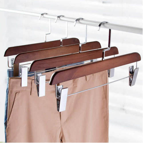 1 Piece Wood Pant Hanger With Clips Multi-Functional Closet Clothes
