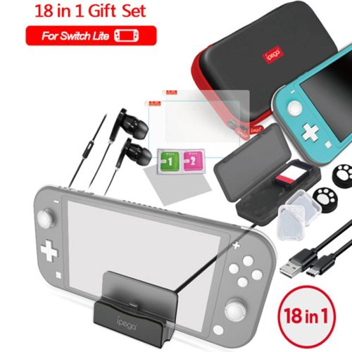 18 In 1 Accessories Kit For Nintendo Switch Lite Carrying Bag Case Charging Stand TPU Type-C Cable Tempered Screen more convenient to find each game