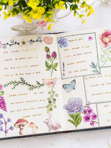 5Pcs Decorative Stickers Floral Series DIY Adhesive Cute Gift Fresh Multi Stickers Set Plant