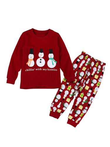 Girl's Home Clothes Letter Pattern Long Sleeve Top And Pants Toddlers Print Crew Neck Pajama Set