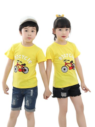 Boys And Girls Brother Sister Matching Outfits Bicycle Print O-Neck Cartoon Short Sleeve Crew Neck