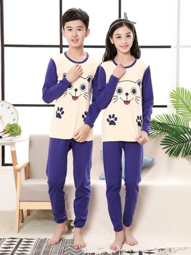 Brother And Sister Family Outfits 2 Pieces Print Top Elastic Waist Pants Crew Neck Long Sleeve Cartoon