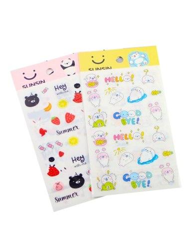 2 Pcs Stickers Set Creative Lovely Patterns DIY Multi Stickers Set Size: 20cm*105cm Fashion Office Shape