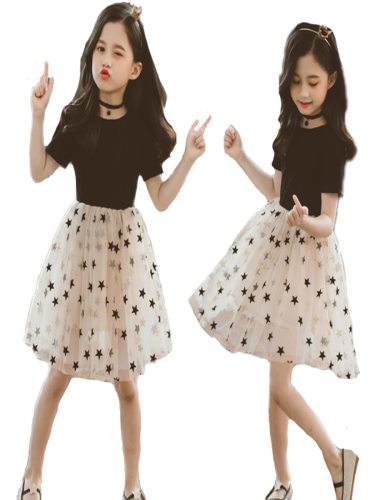 Girls Sister's Family Outfit A Line Dress Patchwork Polka Doted Elegant Simple sleek minimalist Embroidery Short Sleeve Print Crew Neck