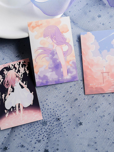 28Pcs Message Cards Cartoon Watercolor Painting Greeting Cards Writing Fresh Single Page Cards Size:10*6*15cm